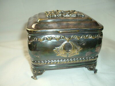 Antique Fraget N Plaque Silverplate Hinged Lid BOX Trinket Jewelry Cigarette BOX