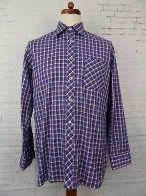 Vintage 1980s L-Sleeve Blue Check Indie Shirt -L- CA68
