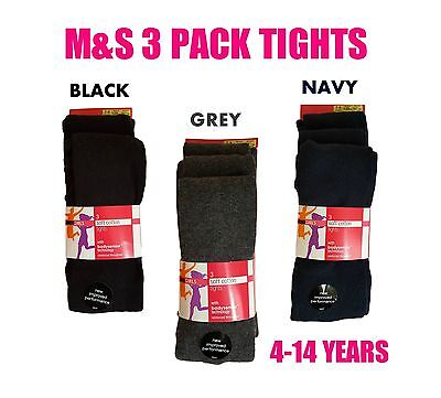 *EX M+S* Girls 3 Pack Tights Super Soft Cotton Black Navy Grey School Stocking
