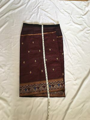 Laos Lao Synthetic Silk Sinh Skirt Burgundy
