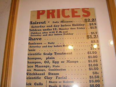 Vintage Barber Shop Advertising The Prices In 50's Or 60's
