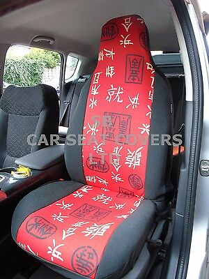 i - TO FIT A KIA SOUL EV, CAR SEAT COVERS, CHINESE RED AND BLACK - 2 FRONTS