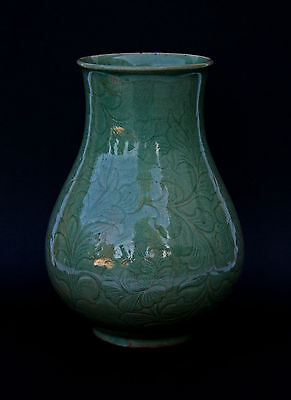 Antique Korean Carved Celadon Vase Signed In Chinese Ming Longquan Style