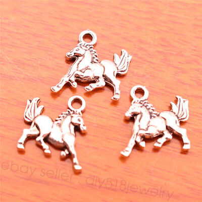 50 Pieces 16*16mm Charms horse pendant Diy Jewelry bracelet Tibetan Silver 7070B