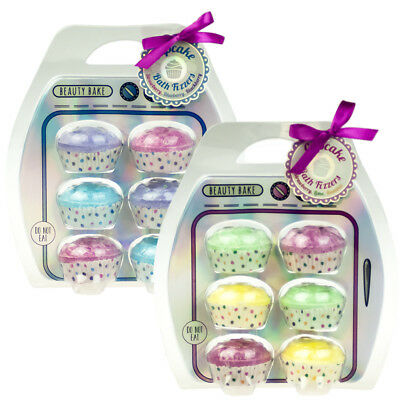 6x Novelty Cupcake Fruity Bath Bomb Fizzers Gift Set Fruit Cocktail Wild Berries