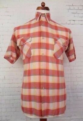 Vintage S-Sleeve Plaid Check 1980 Casual Shirt -S- CA83
