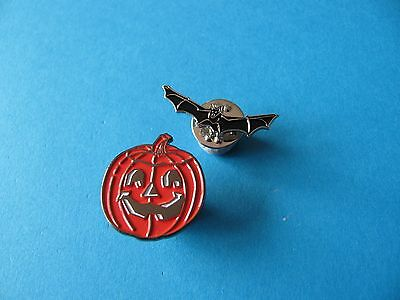2, New Halloween Pin Badges, Blood Red Pumpkin and Vampire Bat.
