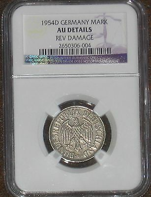 Germany 1954 D 1 one Mark NGC Graded AU Details Certified Key date