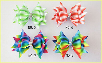 "30 BLESSING Good Girl Boutique 3.5"" New Rainbow Stylish Hair Bow Clip"