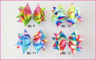 """50 BLESSING Good Girl Boutique 3.5"""" New Rainbow Stylish Hair Bow Clip"""