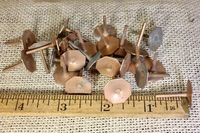 "25 old COPPER TACKS 5/8"" 8 sided hexagon nails vintage tarnished leather rivets"