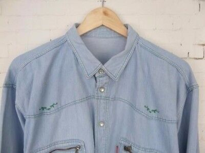 Vtg L-Sleeve Stone Wash Oversize Pearl Snap Denim Shirt -L- BX69