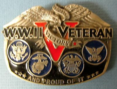 Vintage WWll VETERAN VICTORY BELT BUCKLE World War Two PROUD OF IT USA EAGLE