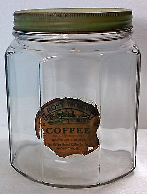 """ANTIQUE """"ROSY MORN"""" COFFEE JAR w/PAPER LABEL AND GREEN LID"""