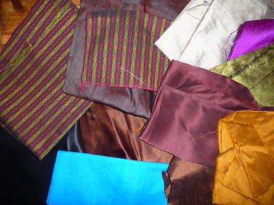 Some Vintage Mixed Lot of Silk/Rayon Scraps  14 Pieces