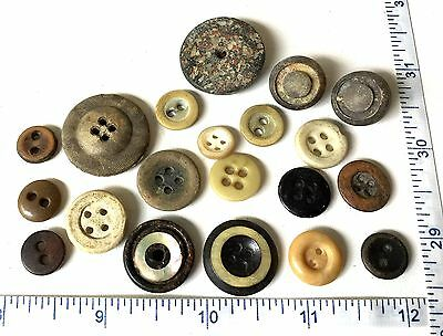 Large Lot of 20 Antique Old Vintage Sewing Buttons Bone Stone? Shell? AVB251