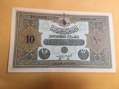 TURKEY OTTOMAN EMPIRE 10 Livres P110X British Military UNC