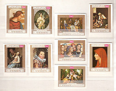 Kingdom Of Yemen 1969, Michel Catalog #717A/25A Set 9 Stamps Imperf Mint Nh !!