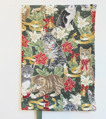 FABRIC Paperback Book Cover Standard Paperback Book Cat Kitty Kitten  Christmas