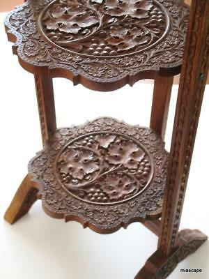 ANTIQUE Carved TEAK WOOD Folding 3Tier Pie Cake Rack Pant Flower Stand Bookshelf