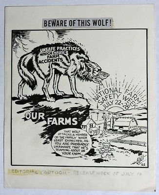 "S167. Vintage: ""BEWARE OF THIS WOLF!"" Original Political Art by LEO EGLI (1962)"