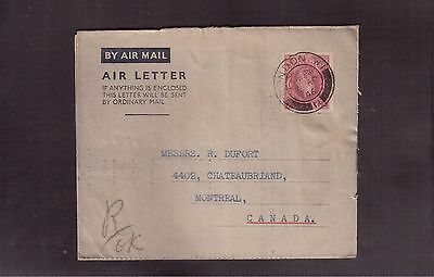 Great Britain 1946 Air Letter (Aerogram) To Canada !!