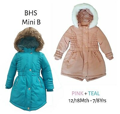 BHS Girls Coat Parka Jacket Winter Baby Quilted Hooded Rain Warm School Fleece