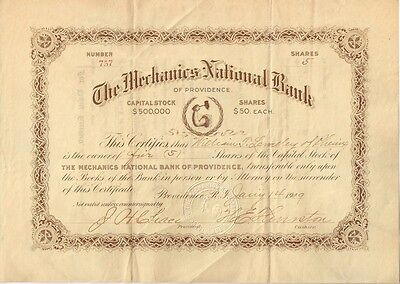 USA • 1909 Providence Bank Stock Certificate •