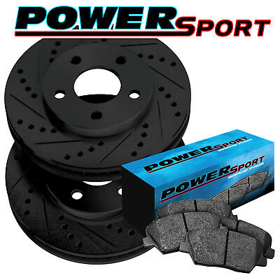 FRONT PowerSport Black Drilled Slotted Rotors and Ceramic Pads BBCF.58007.02