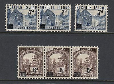 NORFOLK ISLAND 1958 SURCHARGES  -  3 pairs, Mint Never Hinged