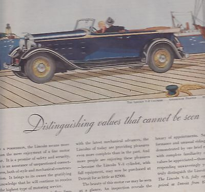 1932  Lincoln V-8 4 Passenger Phaeton    Magazine Ad / Advertisement
