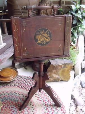 Beautiful Antique Eastlake Era Carved Wood Music Holder Stand Newspaper Stand