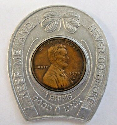 1978 ENCASED CENT TOKEN Monticello Gaming Raceway THE BIG M Harness Horse Track
