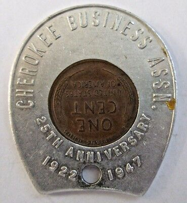 RaRe 1946 ENCASED CENT Cherokee Business Assn. 25th Anniversary 1922-1947