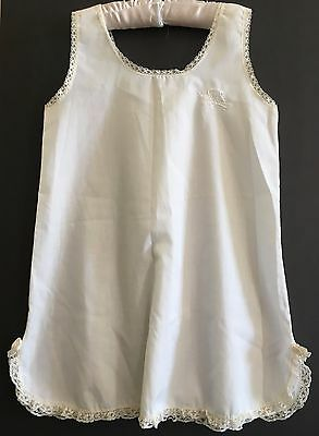 Vintage Tagged Girls Her Majesty Embroidered Slip Petticoat Size 7 Lace Trim