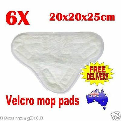 6x Velcro Microfibre Steam Mop Floor Washable Replacement Pads for H2O H20 X5