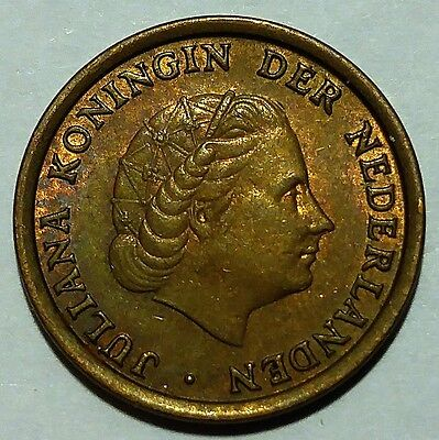 Rare 1974 Netherlands 1 Cent KM#180 About Uncirculated No Reserve!