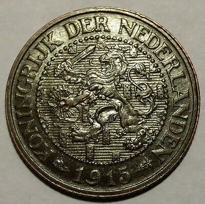 Rare 1915 Netherlands 2 1/2 Cents KM#150 About Uncirculated No Reserve!