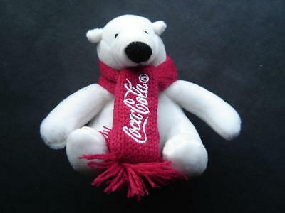 """Seated White Coca Cola Stuffed Bear Plush in Red Scarf 4"""" tall"""