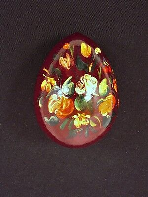 """COLLECTIBLE Decorative Wooden Handpainted Egg - 3½"""" tall - maroon - XB"""