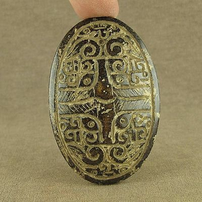 WITH CARVED CHINESE ANTIQUE JADE FACE TOTEM LeiZi PENDANT