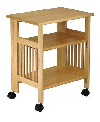 Wood Cart with Wheels Printer Stand Table Folding Microwave Serving Bedside NEW