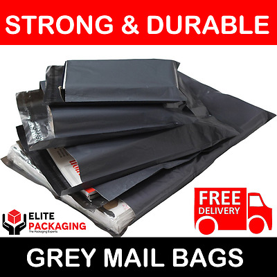"""100 BAGS 12"""" x 16"""" STRONG POLY MAILING POSTAGE POSTAL QUALITY SELFSEAL GREY 60MU"""