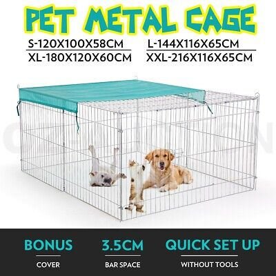 Pet Dog Metal Cage Collapsible Playpen Puppy Cat House Kennel With Fabric Cover