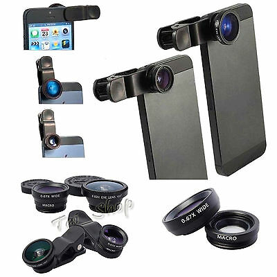 Universal Clip On Fish Eye Wide Angle Macro Camera Lens For iPhone 5S 5C 5SE