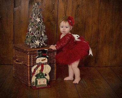 Deep Red Baby Girl 9-12 month  Christmas Romper Photography Prop Long Sleeve