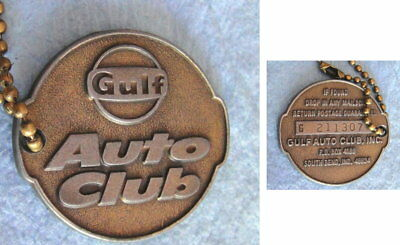Vintage GULF AUTO CLUB Member Key Fob Tag and Keychain