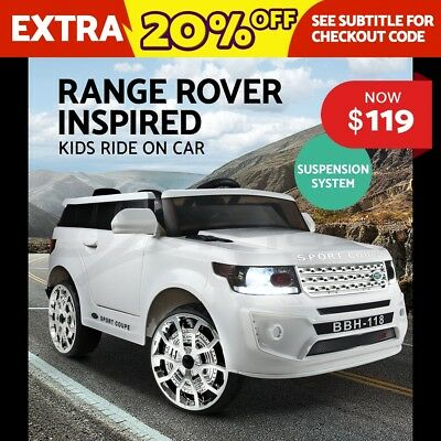 Kids Ride-On Car Range Rover Sport Coupe Electric Toys Battery Remote Horn White