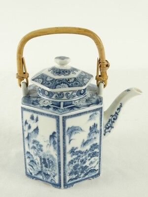 Fine Hexagonal form Chinese Blue & White Teapot with Cane Handle China c1970s AF