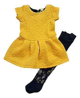 Girls Baby Dress and Tights Set Outfit 2 Two Piece Mustard Yellow 6M-4Y